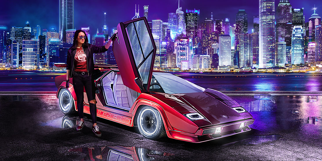Lamborghini Countach in the future Hong Kong is an amazing view