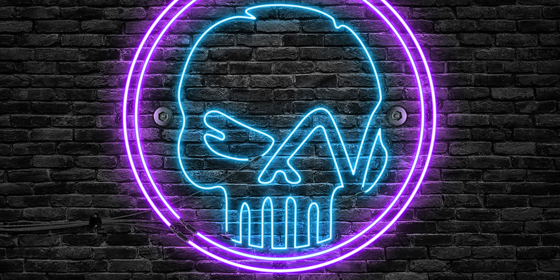 The neon Last Breyt skull